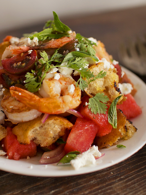 prawn watermelon panzanella