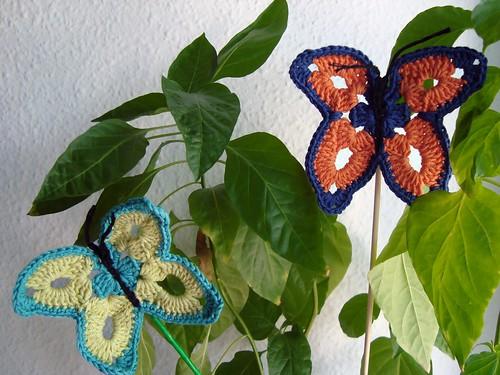 Detalle mariposas de crochet
