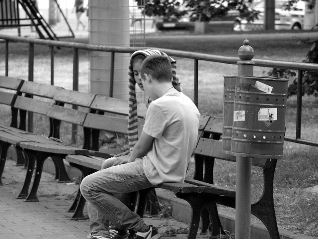 Girl and Boy on the Bench