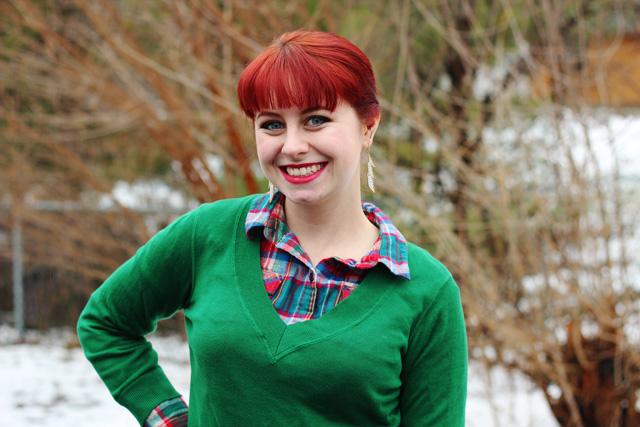 Kelly Green Sweater Flannel Shirt Black Skater Skirt