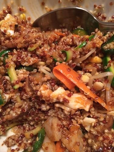 Quinoa shrimp bibimbap