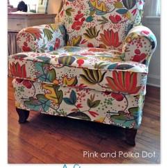Club Chair Slipcover Revolving Karachi Funky Floral – Pink & Polka Dot