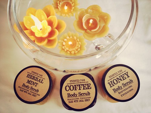 Besswax candles and honey scrubs