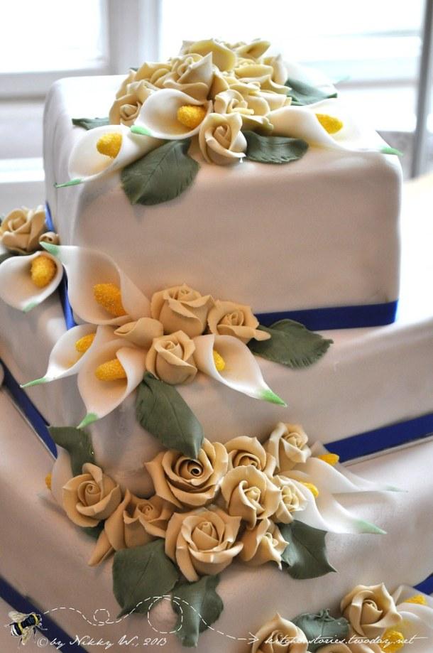 Hochzeitstorte in blau und creme Detail