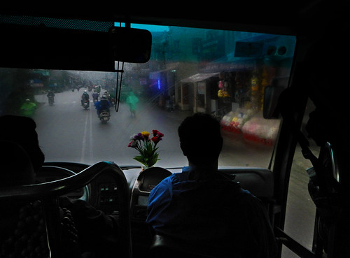 leaving rainy Hue as seen through the bus window