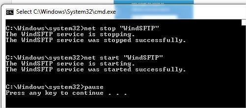 Restart Services WindSFTP