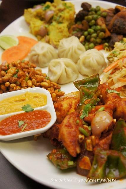 2.Tasting Snack Platter RM 24- chicken chilli, Bhuteko Bhatmas, Nepali salad, Mushroom peas, Aloo Silam and momo (9)