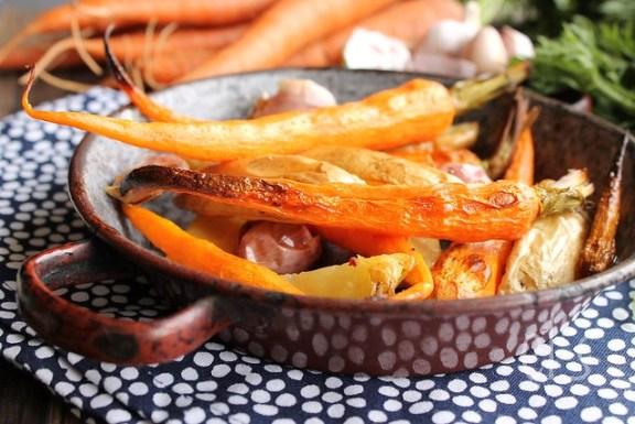 Pommes de terre et carottes rôties