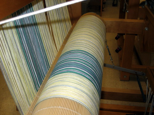 Cotton weaving warp on loom
