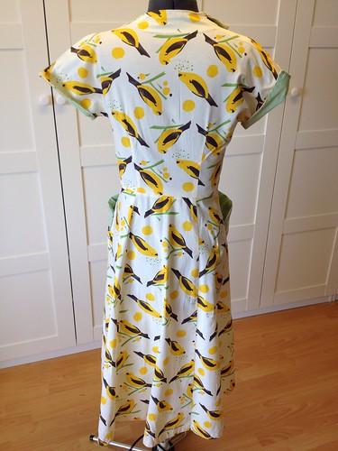 yellow bird dress back view