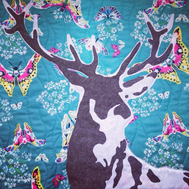 Deer Quilt, Medium Tone Added, Not Yet Sewn