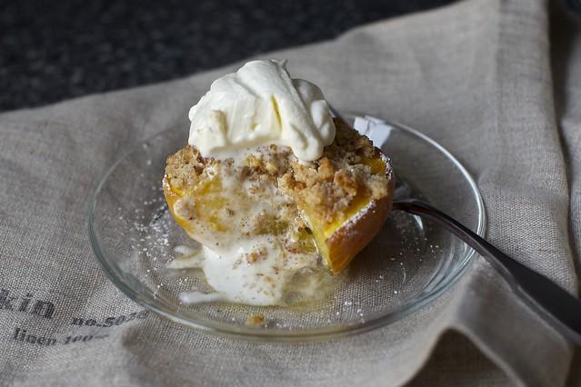 almond crisped peach + oops