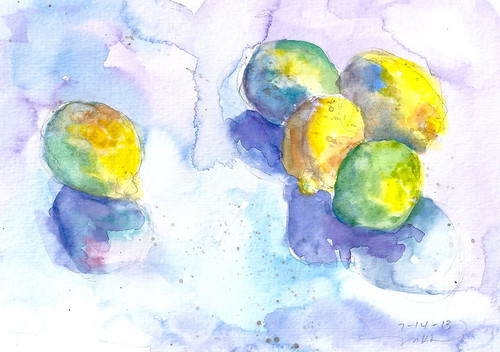 7_14 Lemons n Limes watercolor ptg by calliartist