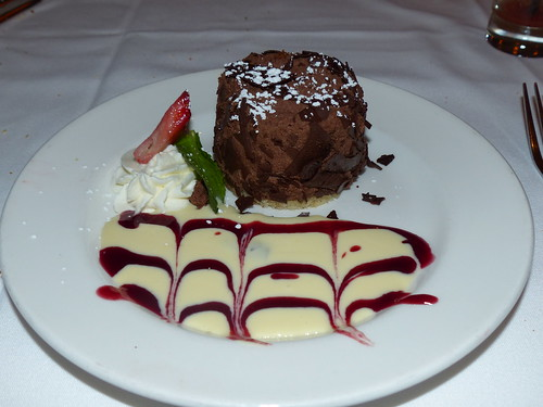 raspberry filled chocolate mousse with raspberry cream sauce