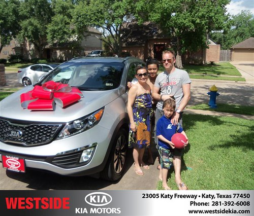 Westside Kia would like to say Congratulations to Mark Durbridge on the 2013 Kia Sportage from Orlando Baez by Westside KIA