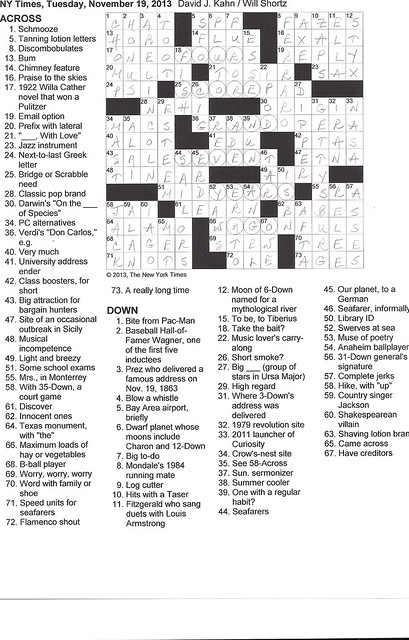 NYT Puzzle - Tuesday, November 19, 2013