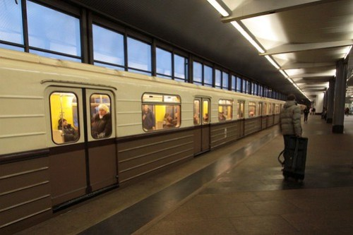 Replica of the first Moscow Metro train in public service