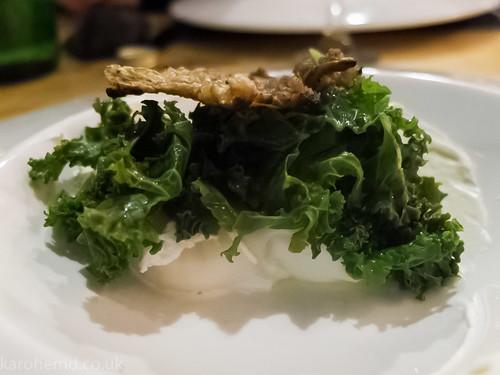 Kale, egg, chicken skin