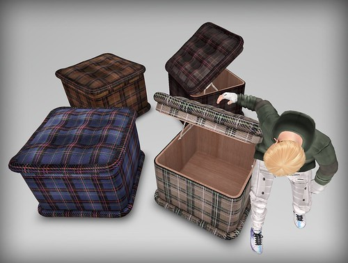 [HD]BOX STOOL -TARTAN HD group color(TEXTURE changer)