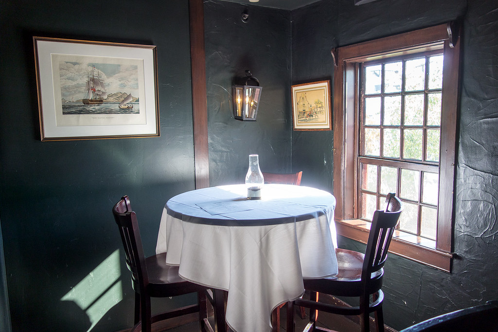 A little table upstairs at the White Horse Tavern.