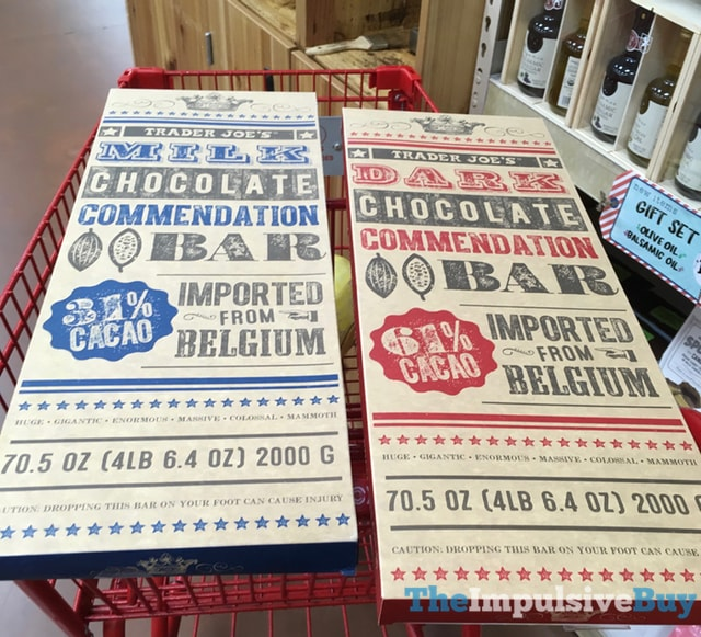 Trader Joe's Milk and Dark Chocolate Commendation Bars