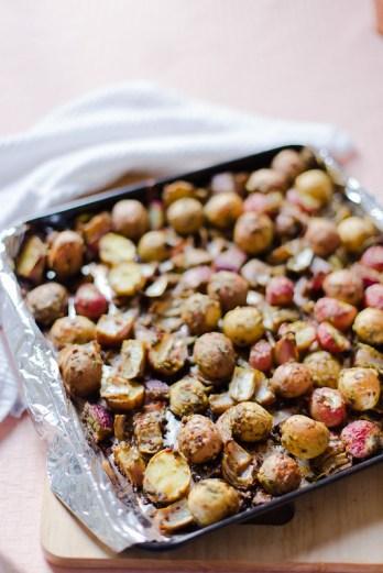 Roasted Baby Potatoes and Radish