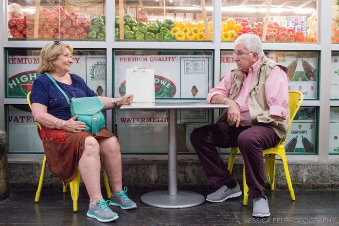 Sitting Old Couple at Chelsea Market New York
