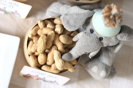 stuffed elephant with peanuts party