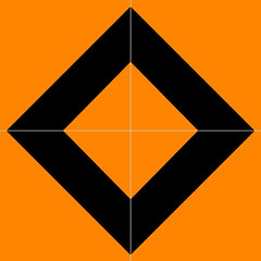 Orange and black square in square in square