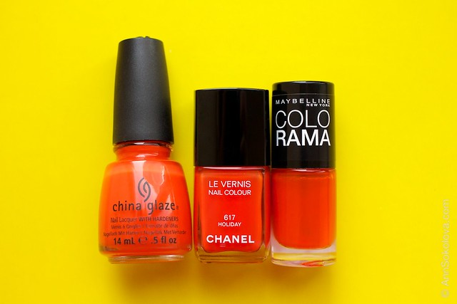 Comparison China Glaze Style Wars, Chanel #617 Holiday, Maybelline Colorama #155