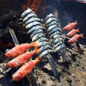 Espetos de salmonetes y sardinas