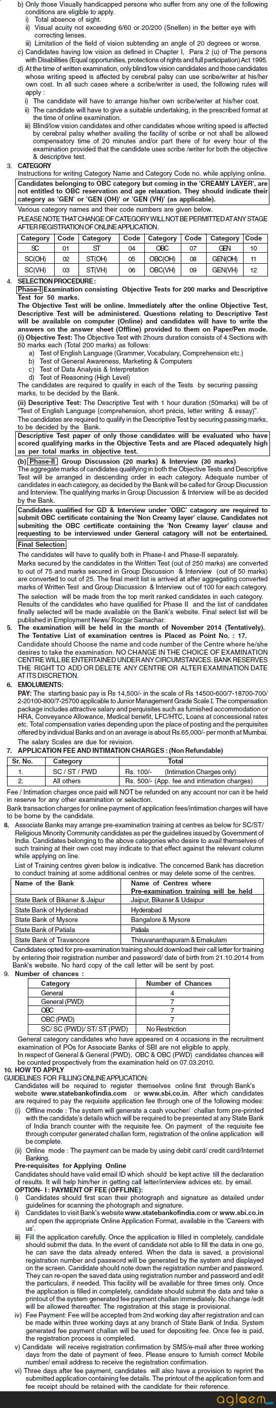 SBI Associate Bank PO Recruitment 2014 Notification Part 2