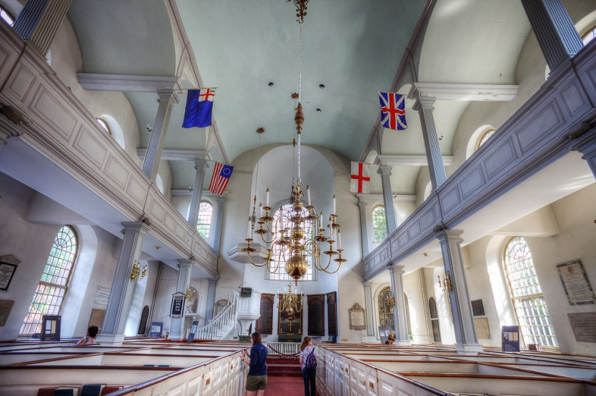 Inside the Old North Church looking towards the Altar.