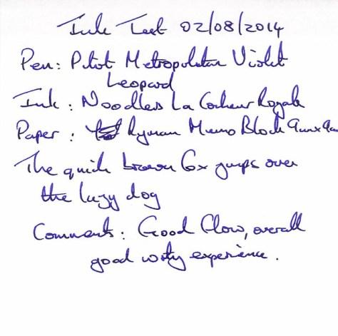 Noodler's La Couleur Royale - Ink Review - Ryman Memo