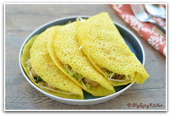 Vietnamese Food, Vietnamese Cuisine, Blogging Marathon, Around the world in 30 days with ABC cooking, Crepes, Vietnamese dosa, Stuffed Crepes,