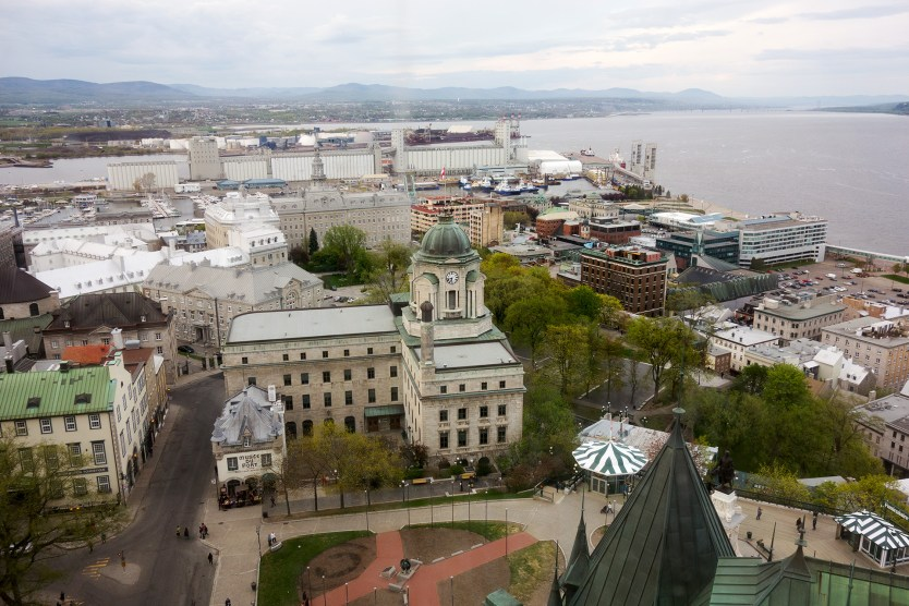 Looking out from the Fairmont Le Château Frontenac in Quebec City.