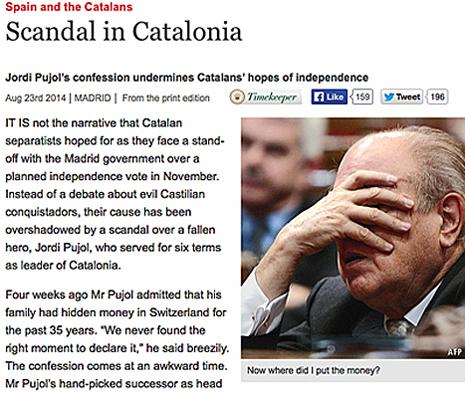 14h23 Economist Las confesiones de Pujol minan el proceso independentista catalán