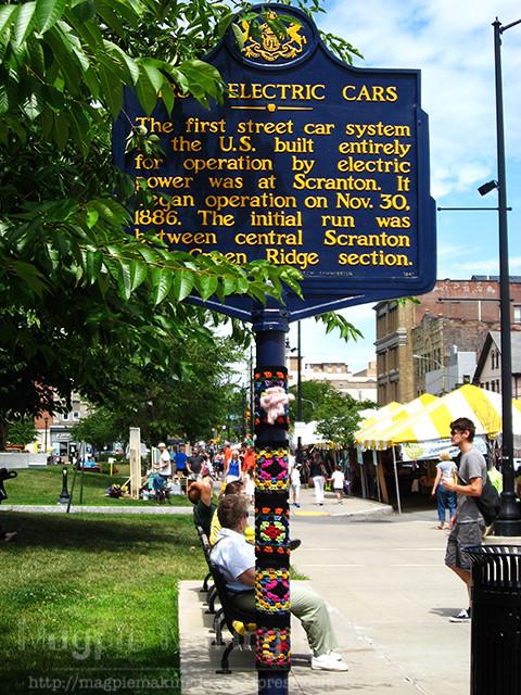 Yarn Bombed Historical Marker