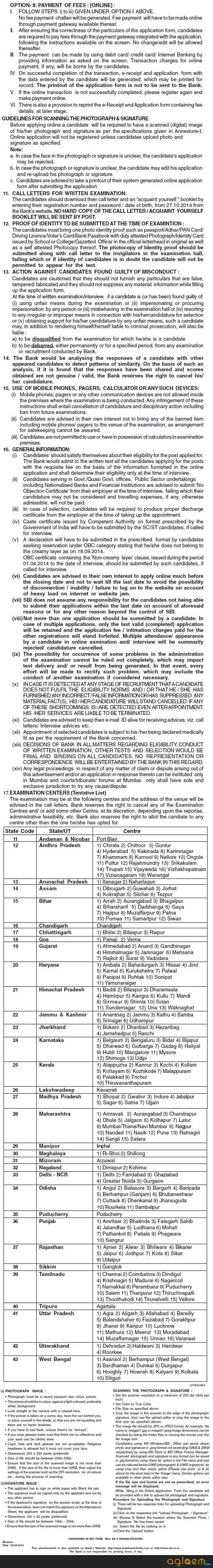 SBI Associate Bank PO Recruitment 2014 Notification Part 3