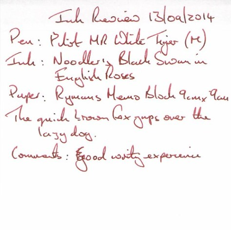 Noodler's Black Swan in English Roses - Ryman Memo - Ink Review