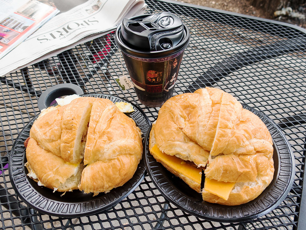 Breakfast sandwiches from Beans & Bagels.