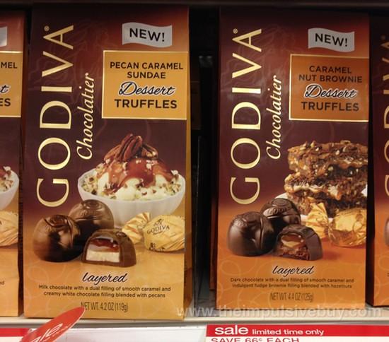 Godiva Pecan Caramel Sundae and Caramel Nut Brownie Dessert Truffles