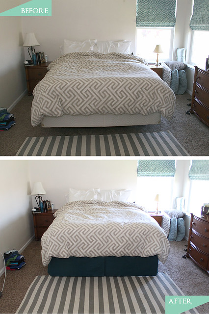 DIY Pleated Bedskirt Before and After