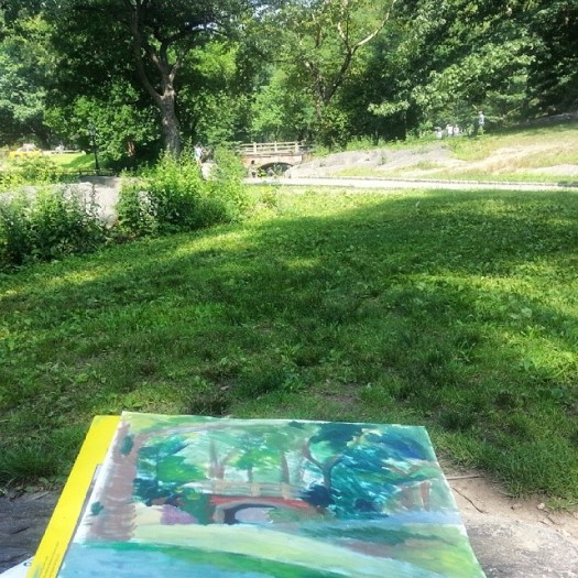 Started painting in the Park yesterday as a slow goodbye to NYC. Was drawn to this spot with a dog sculpture, Balto.   #nyc #sunnyday #centralpark #outdoor #painting #pleinair #balto #trees #summer