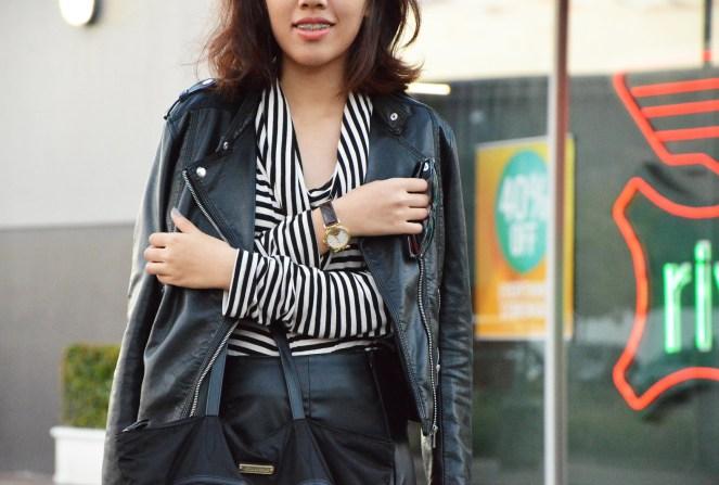 black leather jacket, leather skirt, striped turtleneck sweater