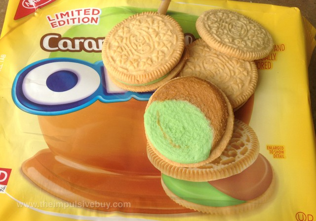 Nabisco Limited Edition Caramel Apple Oreo Cookies Closeup