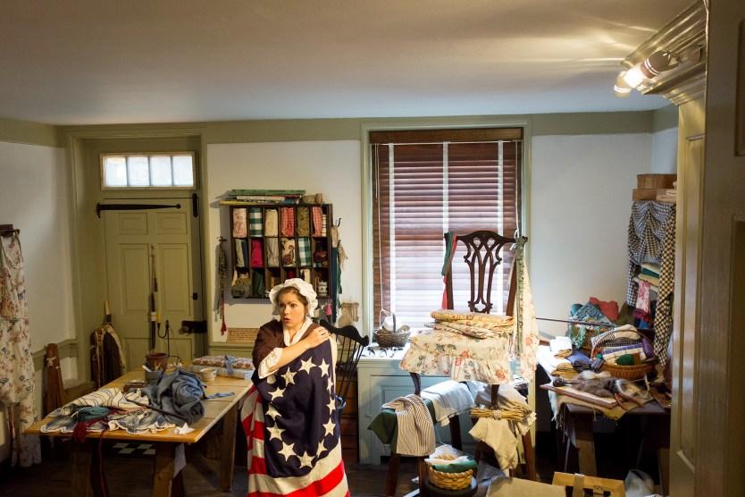 Inside the Betsy Ross House.