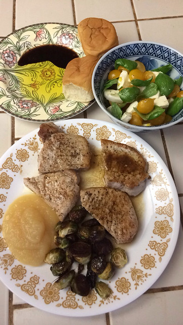 Pork chops and salad