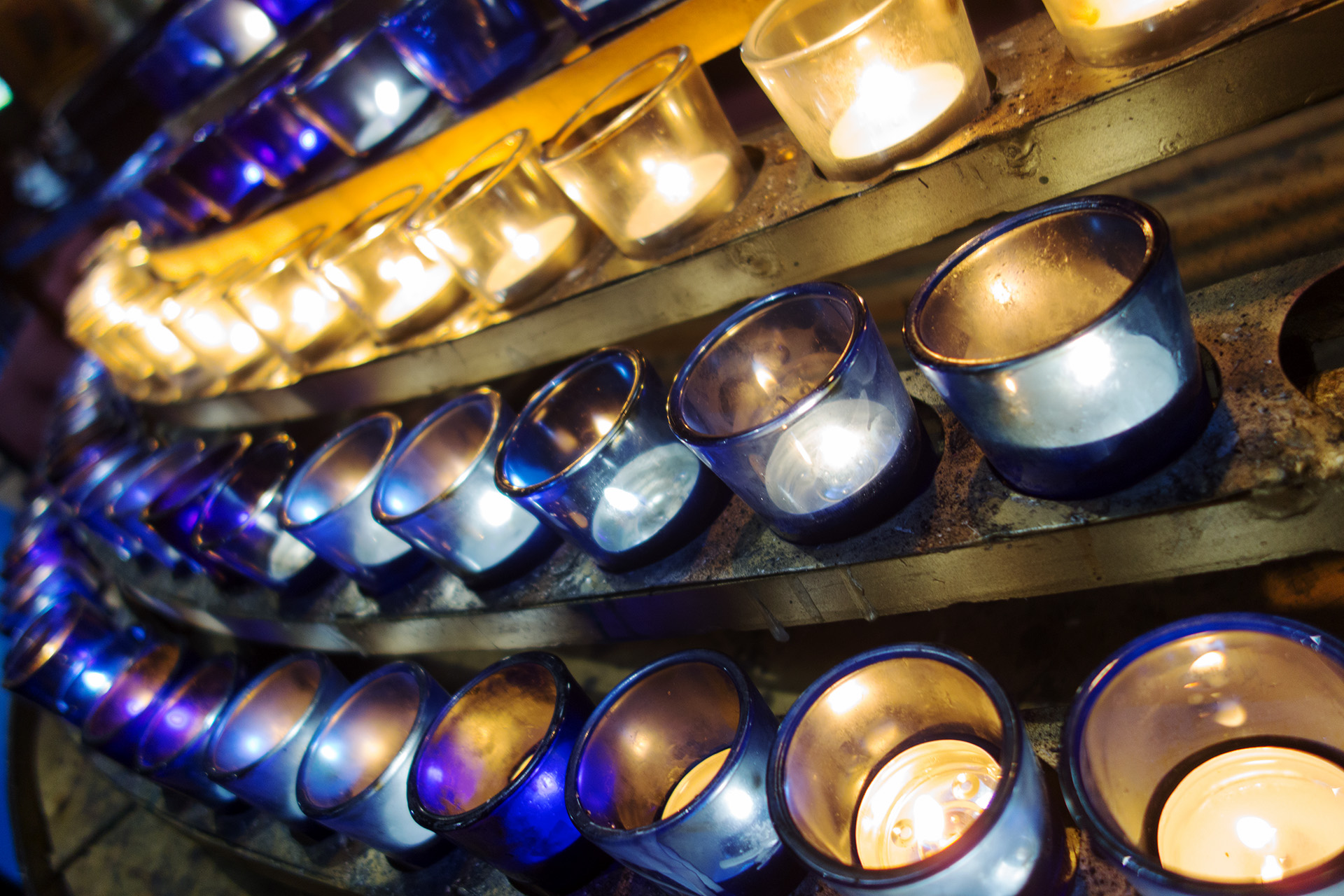 Some of the many candles in Notre-Dame.