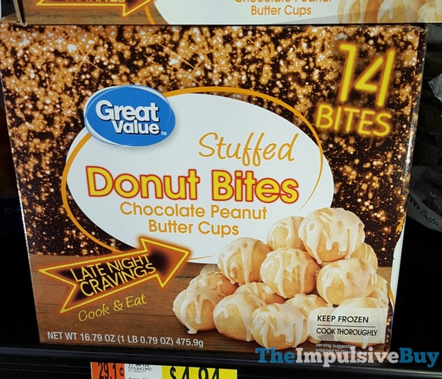 Great Value Late Night Cravings Chocolate Peanut Butter Cups Stuffed Donut Bites